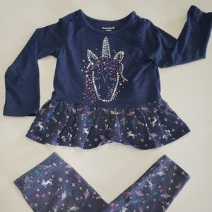 Garanimals unicorn long sleeve tee and leggings